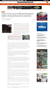 Union Grove říká, že jeho pilové listy Metamob vydrží nejtvrdší podmínky Woodworking Network